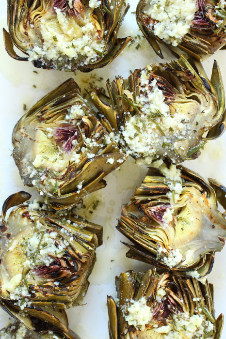 GRILLED ARTICHOKES WITH GARLIC PARMESAN